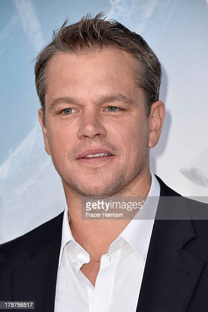 Actor Matt Damon arrives at the premiere of TriStar Pictures' Elysium at Regency Village Theatre on August 7 2013 in Westwood California