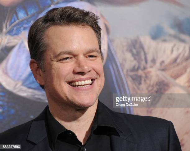 Actor Matt Damon arrives at the premiere of Universal Pictures' 'The Great Wall' at TCL Chinese Theatre IMAX on February 15 2017 in Hollywood...