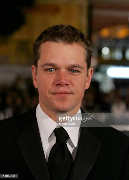 Actor Matt Damon arrives at the Warner Bros premiere of the film Ocean's Twelve at Grauman's Chinese Theatre December 8 2004 in Hollywood California