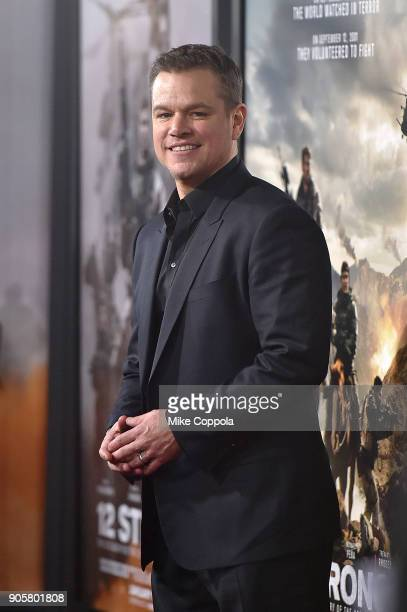 Actor Matt Damon attends the '12 Strong' World Premiere at Jazz at Lincoln Center on January 16 2018 in New York City