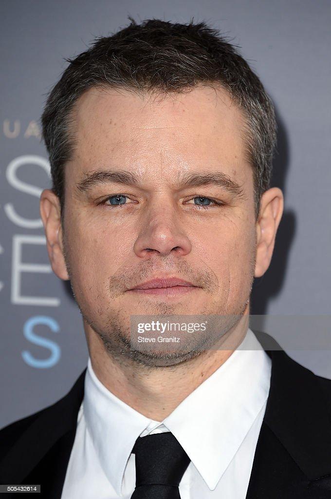 Actor Matt Damon attends the 21st Annual Critics' Choice Awards at Barker Hangar on January 17, 2016 in Santa Monica, California.