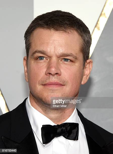 Actor Matt Damon attends the 88th Annual Academy Awards at Hollywood Highland Center on February 28 2016 in Hollywood California