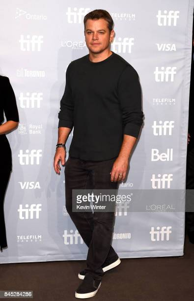 Actor Matt Damon attends the Downsizing press conference during the 2017 Toronto International Film Festival at TIFF Bell Lightbox on September 10...
