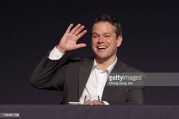 Actor Matt Damon attends the 'Elysium' press conference on August 14 2013 in Seoul South Korea