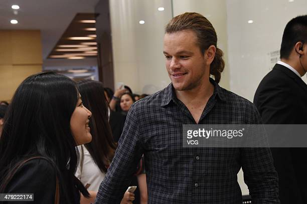 Actor Matt Damon attends 'The Great Wall' press conference at Park Hyatt Hotel on July 2 2015 in Beijing China