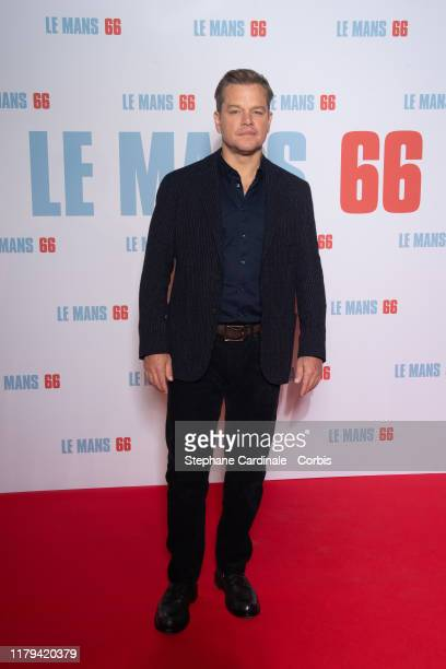"Actor Matt Damon attends the ""Le Mans 66"" Premiere At Cinema Gaumont Champs Elysees on October 06, 2019 in Paris, France."
