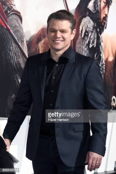 Actor Matt Damon attends the premiere of Universal Pictures' 'The Great Wall' at TCL Chinese Theatre IMAX on February 15 2017 in Hollywood California
