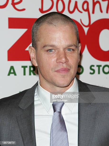 """Actor Matt Damon attends the """"We Bought a Zoo"""" premiere at Ziegfeld Theater on December 12, 2011 in New York City."""