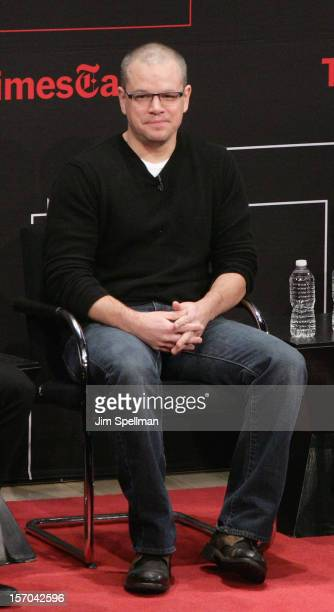 Actor Matt Damon attends TimesTalk Presents An Evening With Marion Cotillard Matt Damon Gus Van Sant at TheTimesCenter on November 27 2012 in New...
