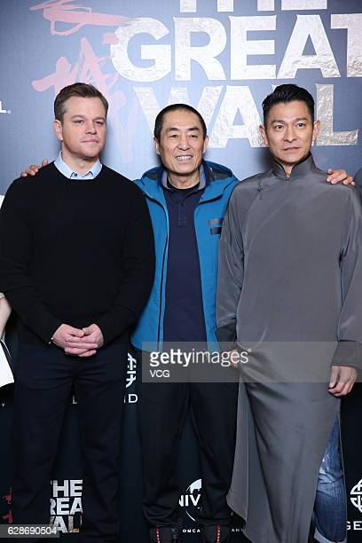 Actor Matt Damon director Zhang Yimou and actor Andy Lau attend 'The Great Wall' press conference at Peninsula Hotel on December 8 2016 in Beijing...