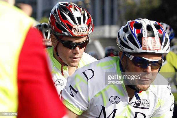 Actor Matt Damon his brother Kyle ride on March 08, 2009 as they partecipate in the Cycling Cape Argus race in Cape Town, South Africa. Damon and...