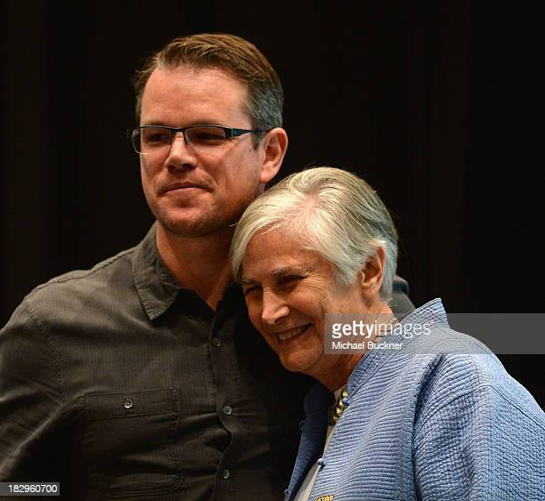 Actor Matt Damon introduces Former U.S. Assistant Secretary Of Education Diane Ravitch as part of the Education on the Edge Lecture Series at...