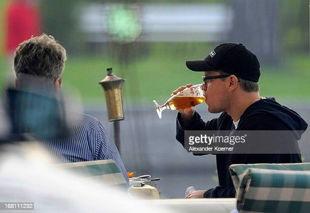 Actor Matt Damon is seen during a meeting enjoying a german beer at his hotel on May 05 2013 in Ilsenburg Germany Matt Damon is currently filming...