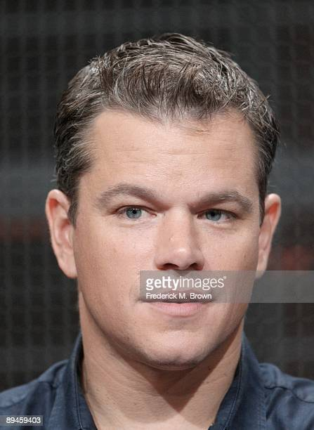 Actor Matt Damon looks on during the History Channel documentary 'The People Speak' panel during the Cable portion of the 2009 Summer Television...