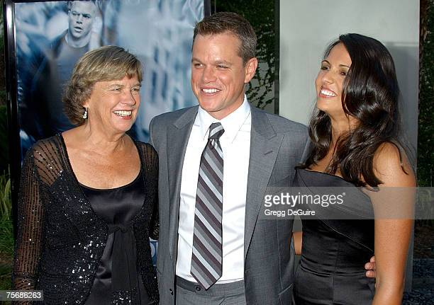 """Actor Matt Damon , mom Nancy and wife Luciana Damon arrive at """"The Bourne Ultimatum"""" premiere at the ArcLight Hollywood Theatre on July 25, 2007 in..."""