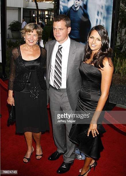 Actor Matt Damon mother Nancy CarlssonPaige and wife Luciana Damon arrive at The Bourne Ultimatum premiere at the ArcLight Hollywood Theatre on July...