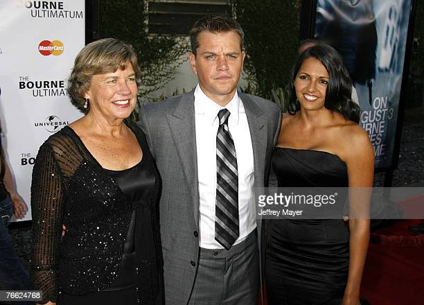 """Actor Matt Damon , mother Nancy Carlsson-Paige and wife Luciana Damon arrive at """"The Bourne Ultimatum"""" premiere at the ArcLight Hollywood Theatre on..."""