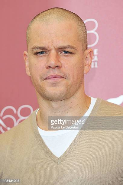 Actor Matt Damon poses at the Contagion photocall during the 68th Venice Film Festival at the Palazzo del Cinema on September 3 2011 in Venice Italy