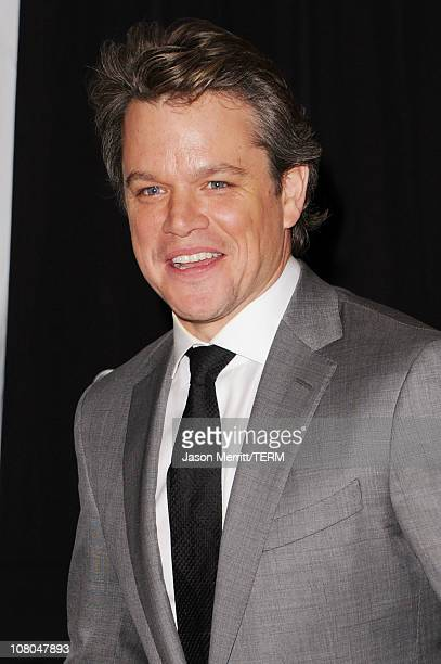 Actor Matt Damon poses with the Joel Siegel award in the press room during the 16th annual Critics' Choice Movie Awards at the Hollywood Palladium on...