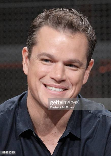 Actor Matt Damon speaks during the History Channel Panel during the Cable portion of the 2009 Summer Television Critics Association Press Tour at the...