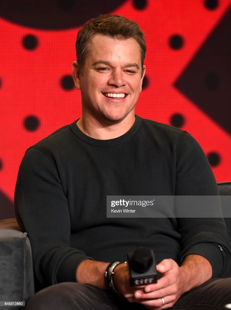 Actor Matt Damon speaks onstage at the 'Suburbicon' press conference during the 2017 Toronto International Film Festival at TIFF Bell Lightbox on September 10, 2017 in Toronto, Canada.