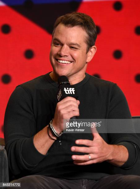Actor Matt Damon speaks onstage at the Suburbicon press conference during the 2017 Toronto International Film Festival at TIFF Bell Lightbox on...