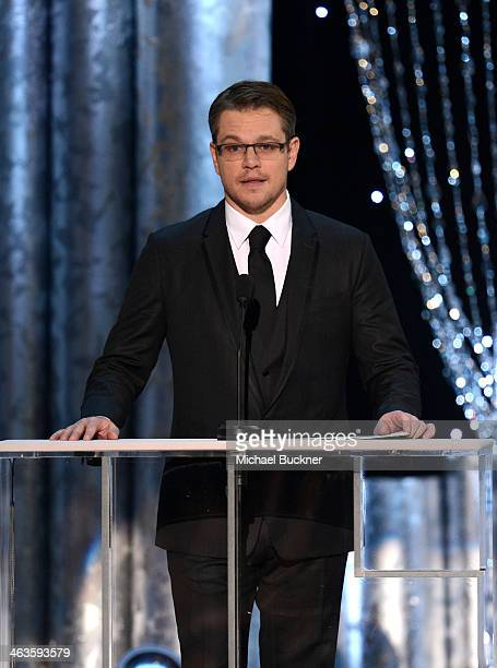 Actor Matt Damon speaks onstage during 20th Annual Screen Actors Guild Awards at The Shrine Auditorium on January 18, 2014 in Los Angeles, California.
