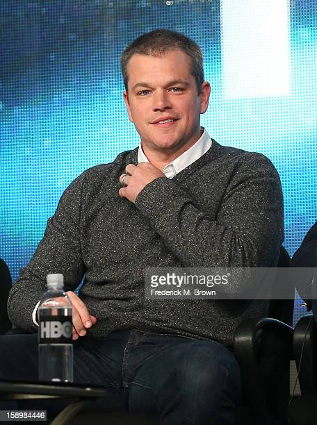 """Actor Matt Damon speaks onstage during the """"Behind the Candelabra"""" panel discussion at the HBO portion of the 2013 Winter TCA Tourduring 2013 Winter..."""