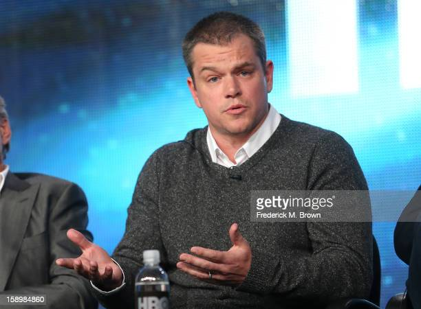 Actor Matt Damon speaks onstage during the 'Behind the Candelabra' panel discussion at the HBO portion of the 2013 Winter TCA Tourduring 2013 Winter...