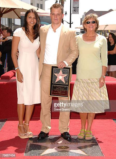 Actor Matt Damon Wife Luciana Damon and mom is honored with the 2343rd Star on the Hollywood Walk of Fame on July 25 2007 in Los Angeles California