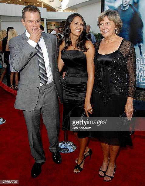 """Actor Matt Damon, wife Luciana Damon and mom Nancy Carlsson-Paige arrive at the U.S. Premiere of """"The Bourne Ultimatum"""" at the ArcLight Hollywood..."""