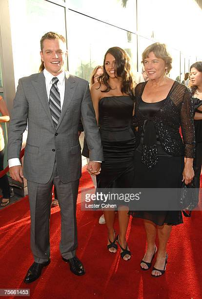 Actor Matt Damon wife Luciana Damon and mother Nancy CarlssonPaige arrive to the Los Angeles Premiere of The Bourne Ultimatum at the Arclight Theater...