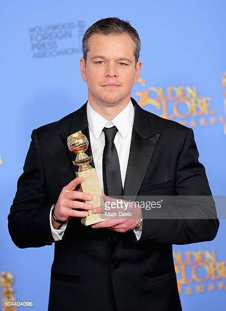 Actor Matt Damon winner of Best Performance by an Actor in a Motion Picture Musical or Comedy poses in the press room during the 73rd Annual Golden...