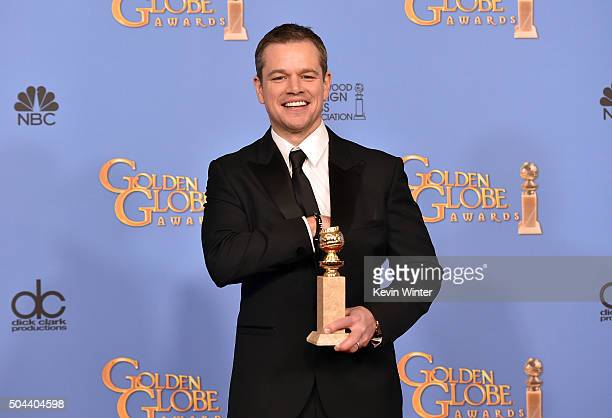 Actor Matt Damon winner of Best Performance in a Motion Picture Musical or Comedy for 'The Martian' poses in the press room during the 73rd Annual...
