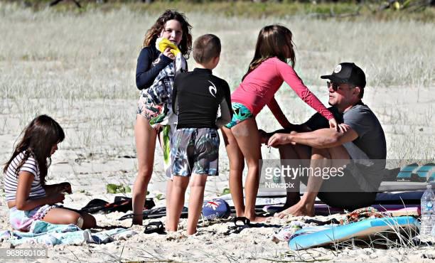BRISBANE QLD Actor Matt Damon with family at North Stradbroke Island near Brisbane Queensland
