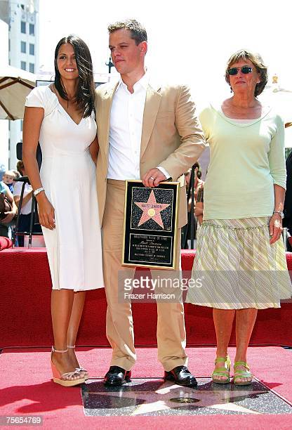 Actor Matt Damon with his wife Luciana Damon and his mother Nancy Carlsson-Paige attend the ceremony honoring Matt Damon with the 2,343th Star on the...