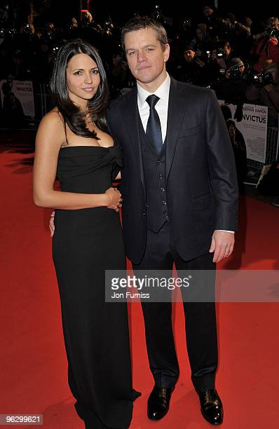 Actor Matt Damon with his wife Luciana Damon attend the Invictus film premiere at the Odeon West End on January 31 2010 in London England