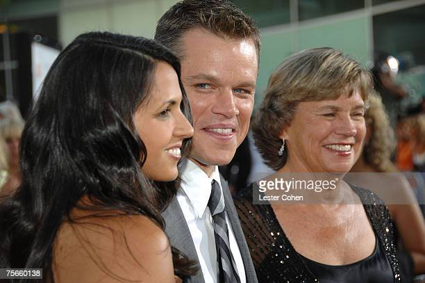 Actor Matt Damon with wife Luciana Damon and mother Nancy CarlssonPaige arrive to the Los Angeles Premiere of The Bourne Ultimatum at the Arclight...