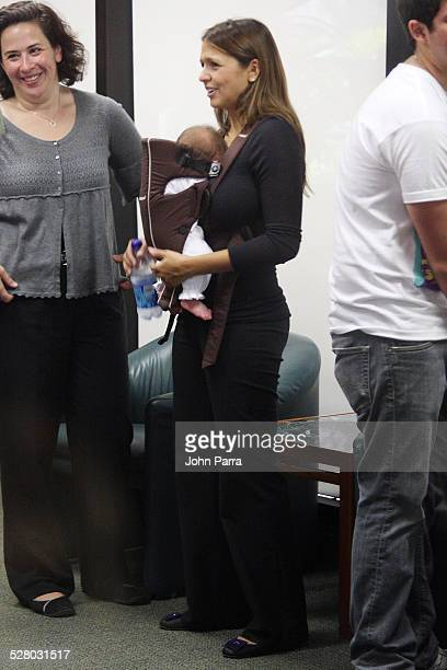 Actor Matt Damon's wife Luciana Damon and daughter Gia Zavala Damon attend an Early Voting Rally at University of Miami on October 27, 2008 in Coral...