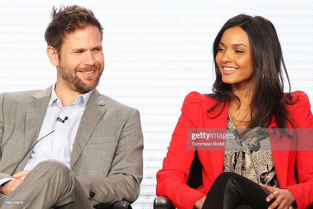 Actor Matt Davis (L) and actress Jessica Lucas of the TV show 'Cult' attend the 2013 TCA Winter Press Tour CW/CBS panel held at The Langham Huntington Hotel and Spa on January 13, 2013 in Pasadena, California.