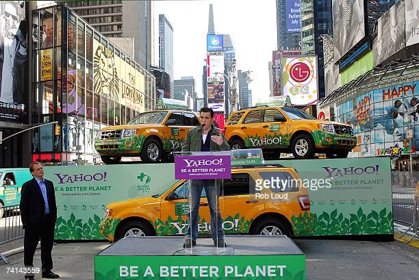 Actor Matt Dillon joined by Matt Petersen Global Green USA CEO speaks at the launch of Global Green USA in Times Square May 14 2007 in New York City...