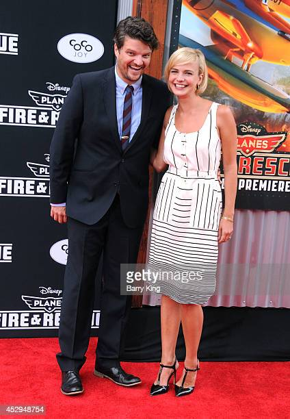 Actor Matt Jones and wife Kelly Daly attend the premiere of 'Planes Fire Rescue' on July 15 2014 at the El Capitan Theatre in Hollywood California