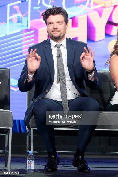 Actor Matt Jones of 'Let's Get Physical' speaks onstage during the POPTV portion of the 2018 Winter Television Critics Association Press Tour at The...