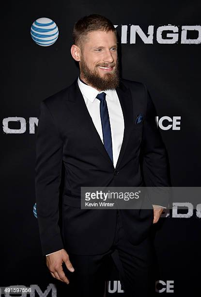 Actor Matt Lauria attends the premiere of DIRECTV's Kingdom Season 2 at SilverScreen Theater at the Pacific Design Center on October 6 2015 in West...
