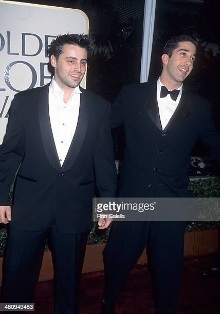 Actor Matt LeBlanc and actor David Schwimmer attend the 53rd Annual Golden Globe Awards on January 21 1996 at the Beverly Hilton Hotel in Beverly...