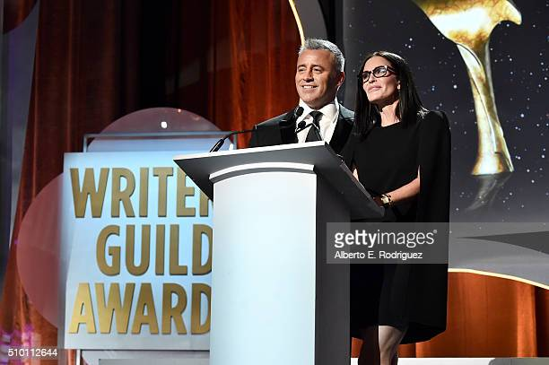 Actor Matt LeBlanc and actress Courteney Cox speak onstage during the 2016 Writers Guild Awards at the Hyatt Regency Century Plaza on February 13...