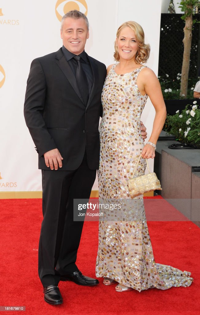 Actor Matt LeBlanc and Andrea Anders arrive at the 65th Annual Primetime Emmy Awards at Nokia Theatre L.A. Live on September 22, 2013 in Los Angeles, California.