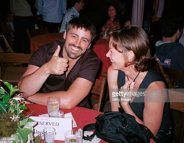 "Actor Matt LeBlanc and friend Heather mingle at the ""Lara Croft Tomb Raider"" post premiere party June 11, 2001 in Westwood, CA."