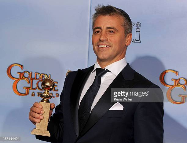 Actor Matt LeBlanc poses in the press room with the Best Performance by an Actor in a Television Series Musical or Comedy award for 'Episodes' at the...