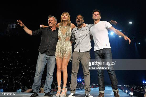 Actor Matt Leblanc singersongwriter Taylor Swift comedian Chris Rock and actor Sean O'Pry speak onstage during Taylor Swift The 1989 World Tour Live...